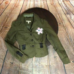 Free People Vintage Army Green Blazer Jacket Sz 6